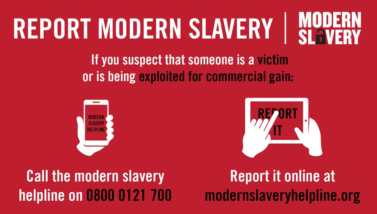 Find out more about #modernslavery and how to report it: https://t.co/...