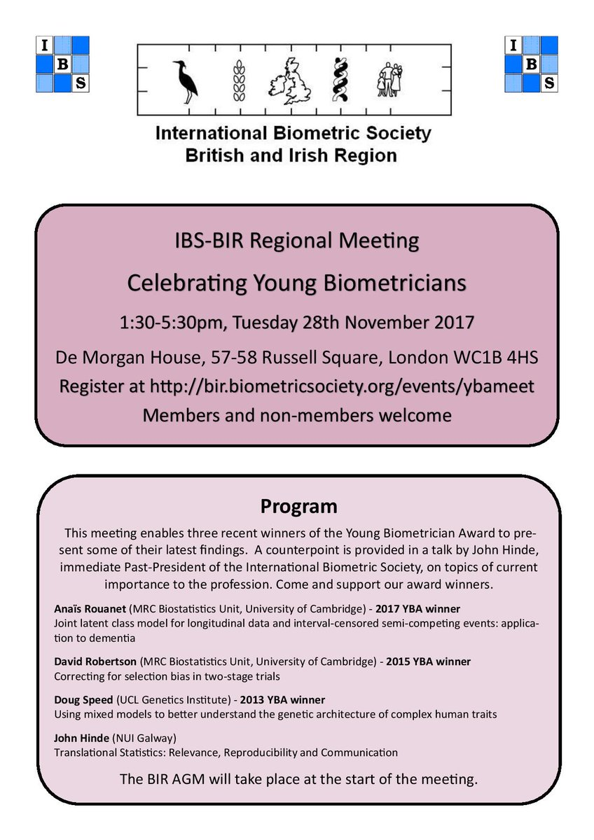 """YSS on Twitter: """"Celebrating Young Biometricians Tue 28th November London  Mathematical Society See flyer and register here: https://t.co/mrrIef5eaP…  ..."""