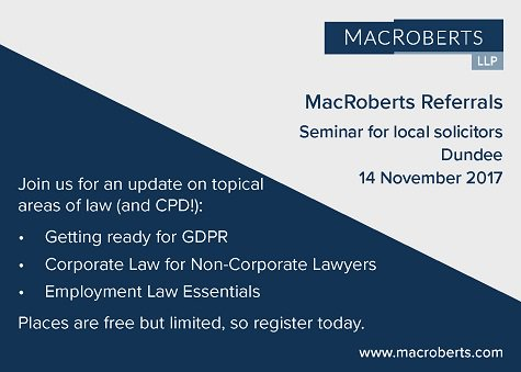 We&#39;re running a #seminar in #Dundee for local #solicitors: join us for an update on #GDPR, #corporatelaw &amp; #ukemplaw  http:// ow.ly/BNtG30fWhwj  &nbsp;  <br>http://pic.twitter.com/Qmu7yJUH5j