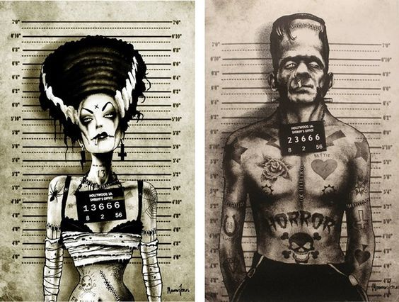amazing illustration for the #Bride of #Frankenstein and the #Monster <br>http://pic.twitter.com/Pajo6YI0Yn