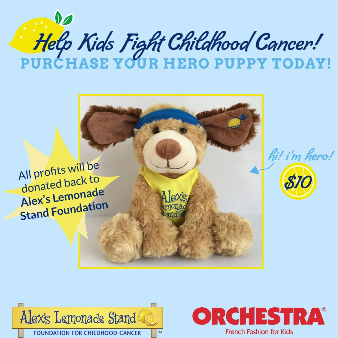 Proud partners of @AlexsLemonade to fight childhood cancer! You can buy a Hero puppy at our @KoP_Mall store. #orchestra #alexslemonadestand<br>http://pic.twitter.com/BmbWEUT9wC