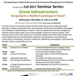 "Tune in 10/18-Kim Falinski teaches Hydrology and Watershed in ""Green Infrastructure"" seminars - Wed's, 3:30-4:30:  https://t.co/bo3VGPaSDe"