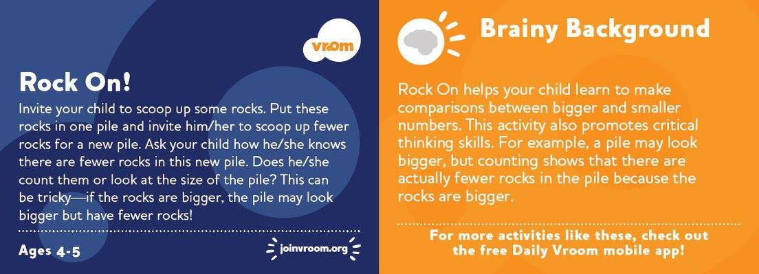 Does your child love rocks? Try this #VroomTip to help him/her learn #number comparisons and #CriticalThinking skills!<br>http://pic.twitter.com/aH1WF5ToQu
