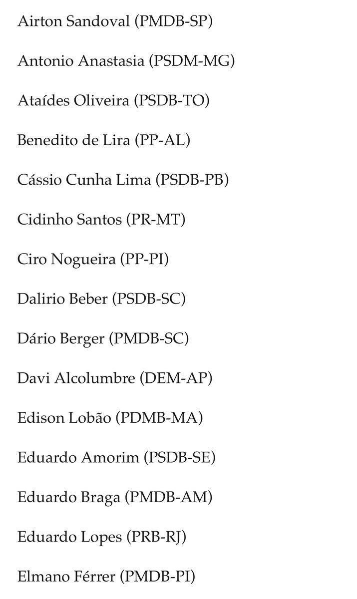 Os 44 senadores que votaram para salvar o mandato de Aécio Neves. https://t.co/oMvnag6DXt
