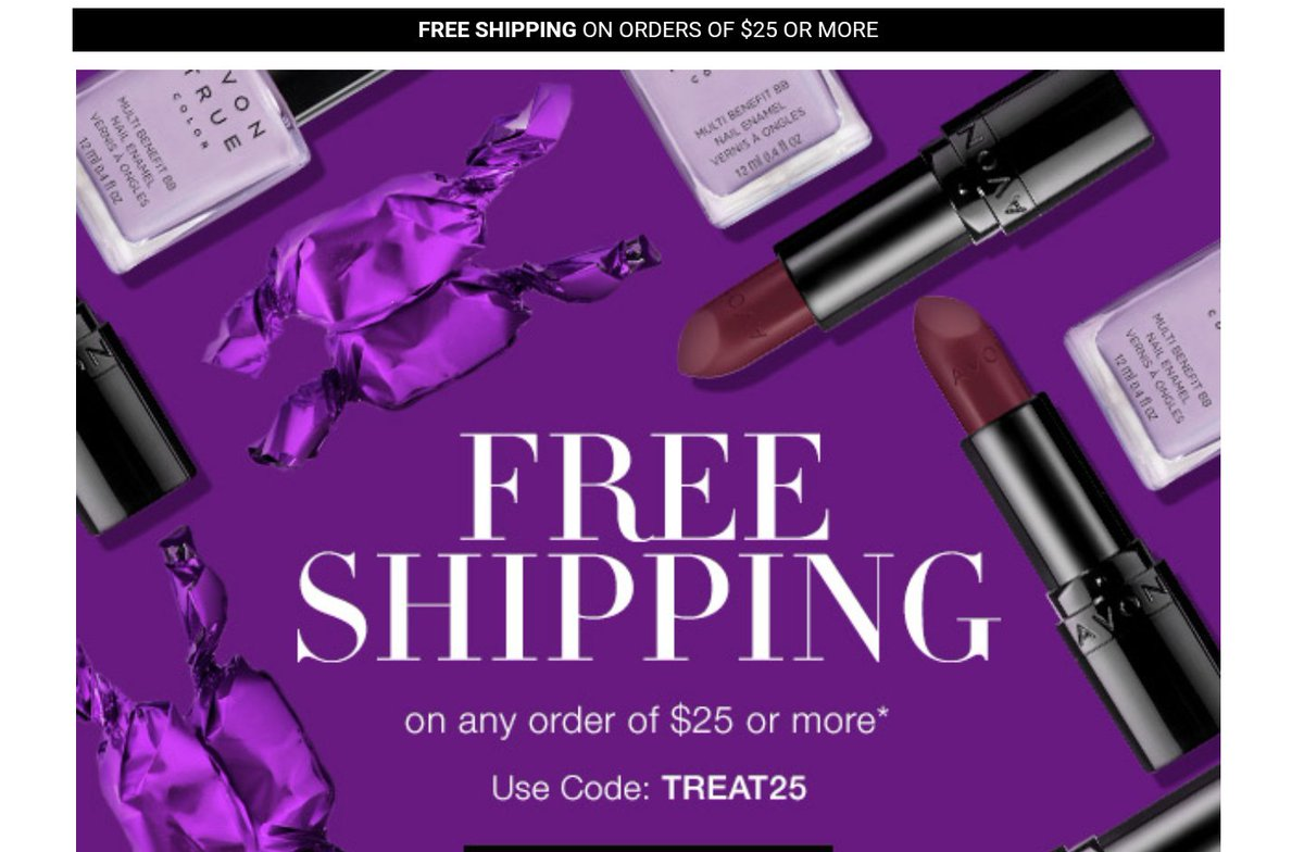 FREE SHIPPING with any $25 order ends tonight  Code: TREAT25  #AvonRep FreeShipping #Beauty #Makeup #Lipstick #SkinCare #Flawless #Plano<br>http://pic.twitter.com/N7TXWXJeEh