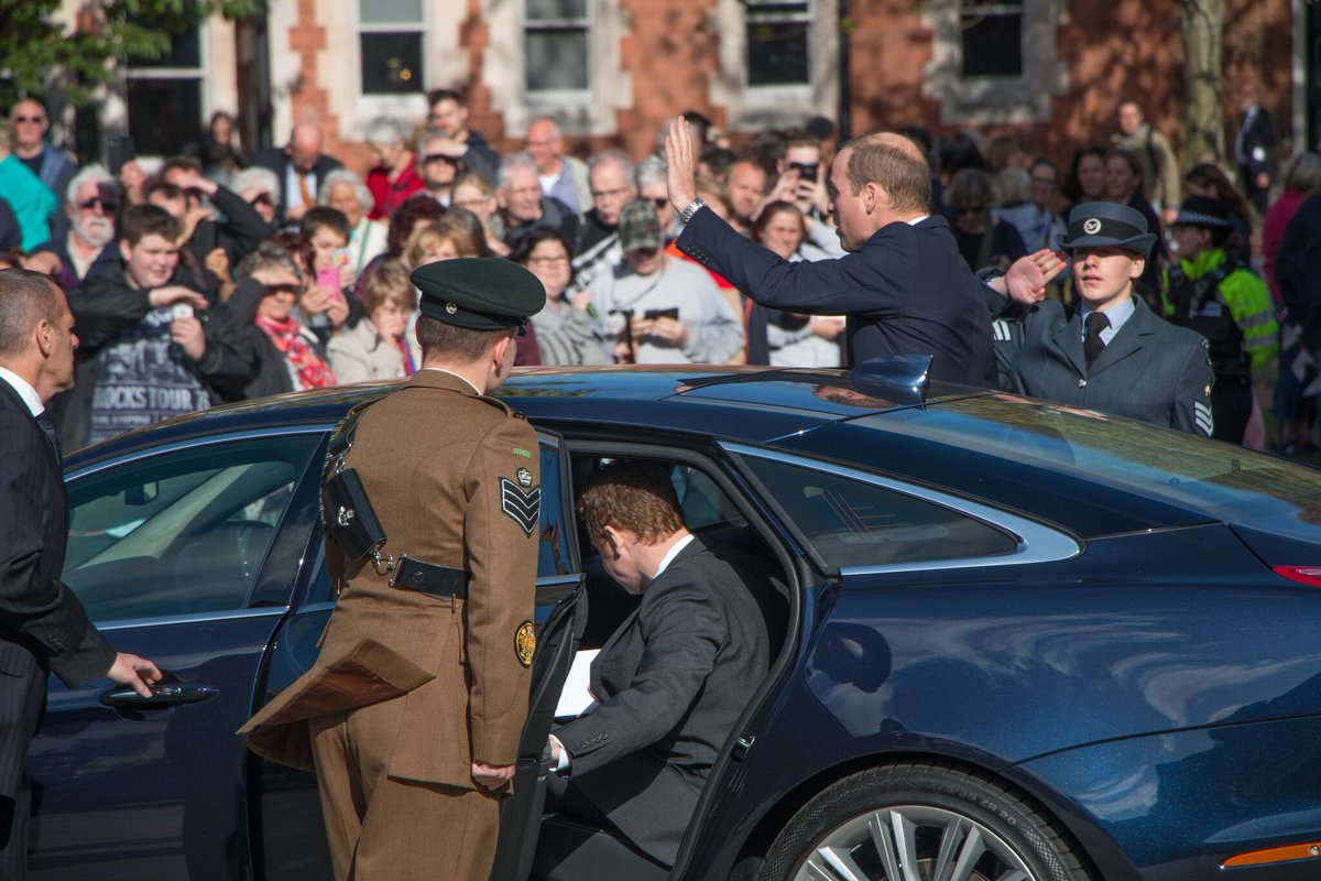 The Duke of Cambridge waves to crowds as he leaves Hereford Cathedral....