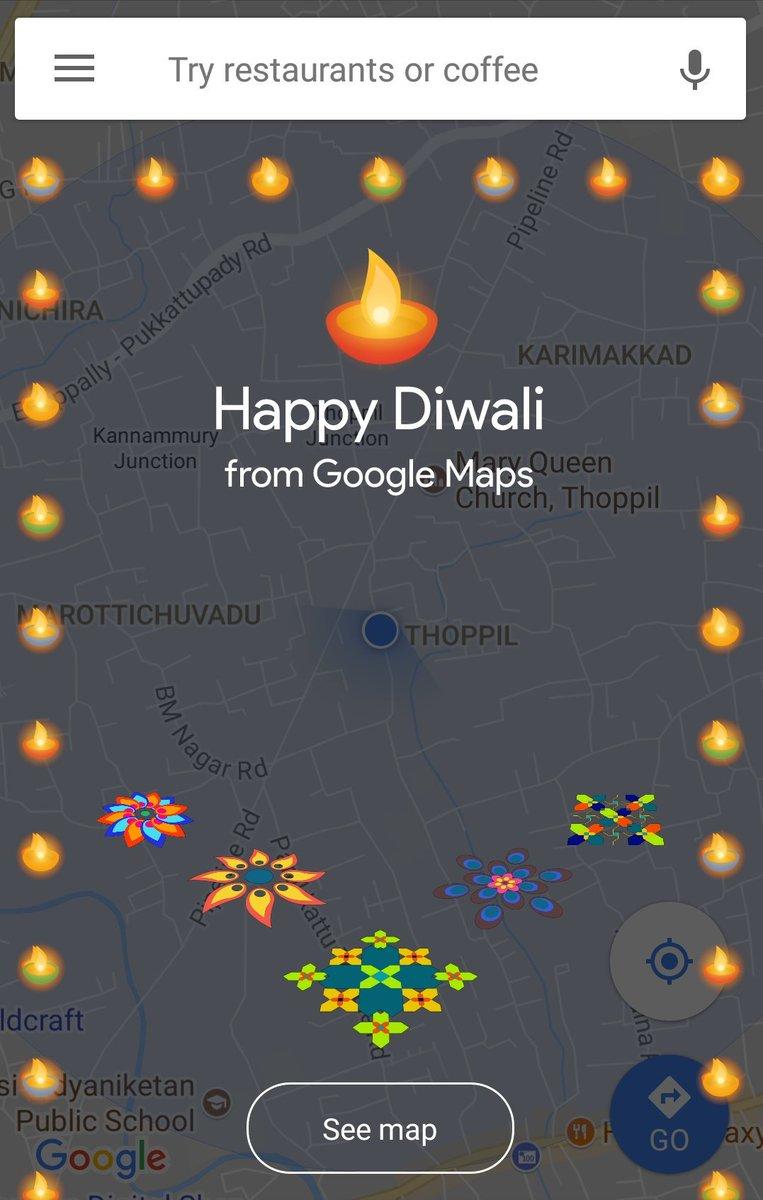Wow!! One of the superb Diwali wishes from #GoogleMaps   #HappyDiwali<br>http://pic.twitter.com/2ducoeSThq