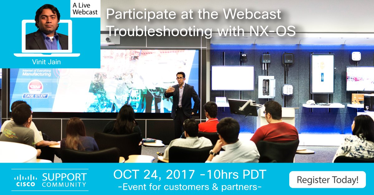 Join me on 24th @ 1 PM ET Oct at @Cisco_Support Webinar on Troubleshooting with NX-OS #DataCenter #Nexus #Cisco #TroubleshootingWithNXOS<br>http://pic.twitter.com/HKcsOBVLtq