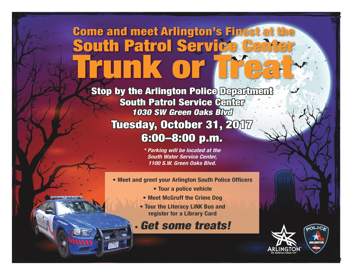 "arlington police, tx on twitter: ""trunk or treat from 6-8 p.m. on"