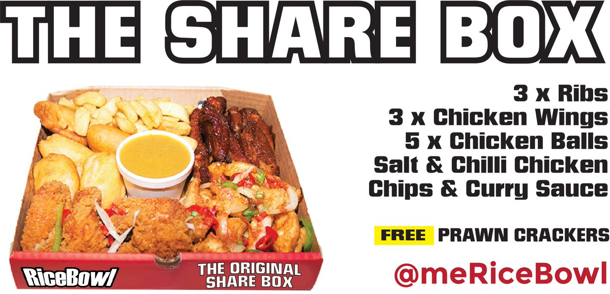 WIN: #FreebieFriday draw is for the Original SHARE BOX Invented by @MeRiceBowl. RT to ENTER #free #food #derry #takeaway #theBiGone<br>http://pic.twitter.com/QYL9HUadpC