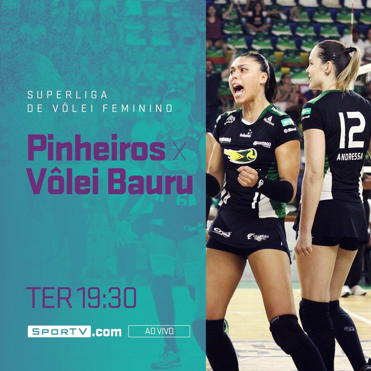 A Superliga voltou e você vê a partida entre as meninas do Pinheiros x Vôlei Bauru às 19:30, no https://t.co/0QCBGRLooa! #SuperligaNoSporTV