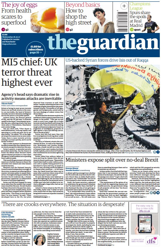THE GUARDIAN FRONT PAGE: MI5 chief: UK terror threat highest ever #skypapers