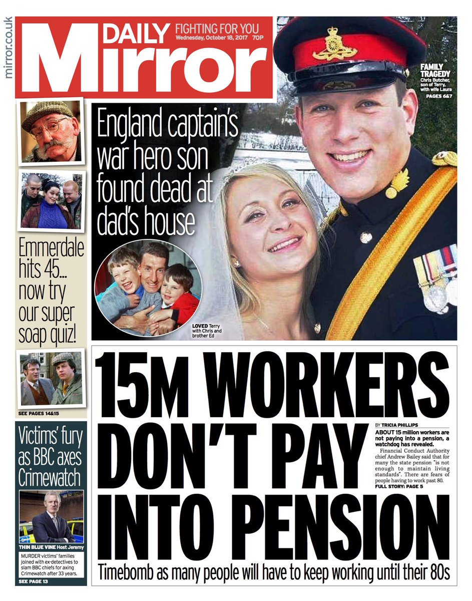 Wednesday's Daily Mirror '15m workers don't pay into pension'  #tomorrowspaperstoday #bbcpapers (via @hendopolis)
