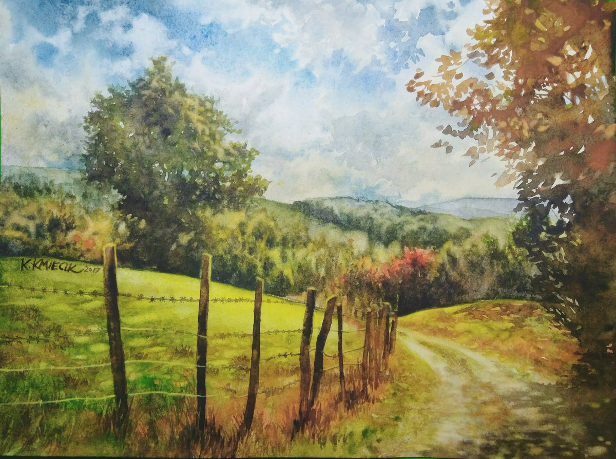 I&#39;ve finished my new #watercolor #painting of the country road :) Tell me what you think!  #landscape #colorful #autumn #ArtistOnTwitter<br>http://pic.twitter.com/sfYPzEGWPr