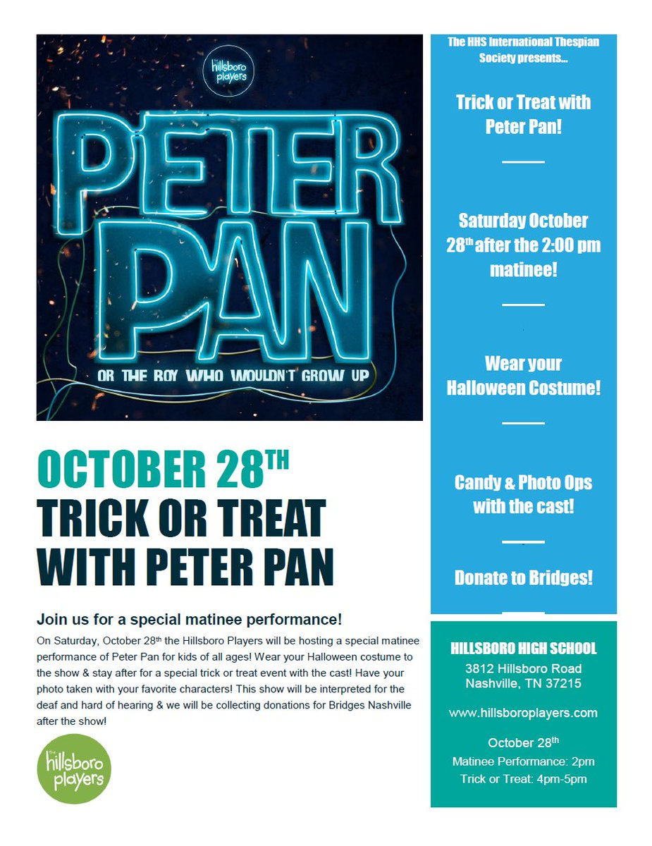 RT @HHSPlayers Trick or Treat with Peter Pan is happening October 28th after the 2pm matinee! 🎃👻🍭#hhspeterpan