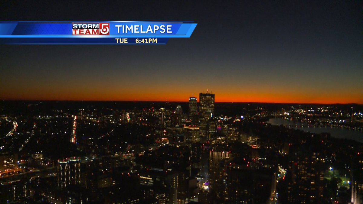 Fading light in the western sky at twilight Tue. evening 42 minutes after sunset #wcvb