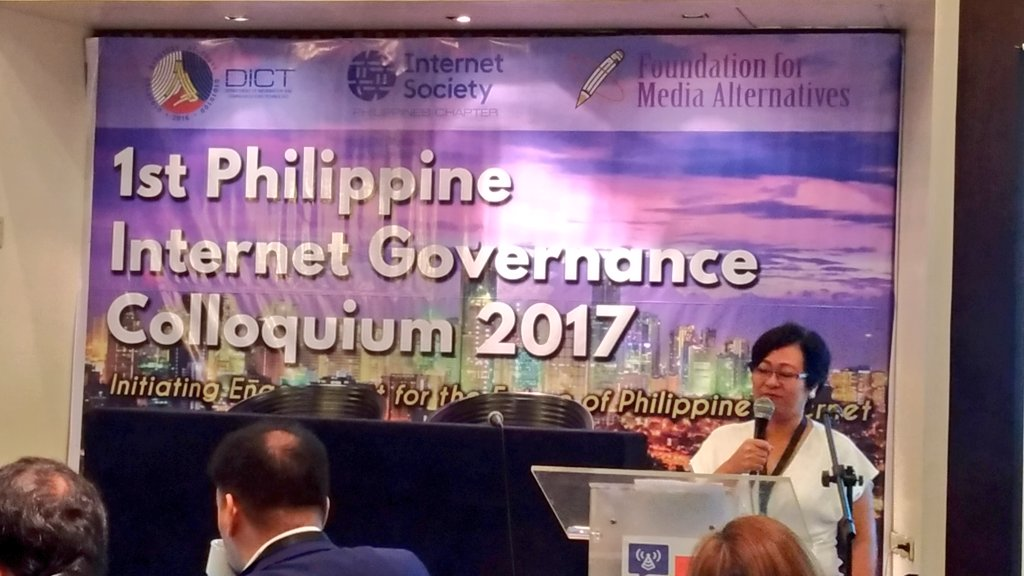 @bobreyes Lisa Garcia of Foundation for Media Alternatives talks about why do we have the 1st Philippine Internet Governance Colloquium #PHinternet  https://t