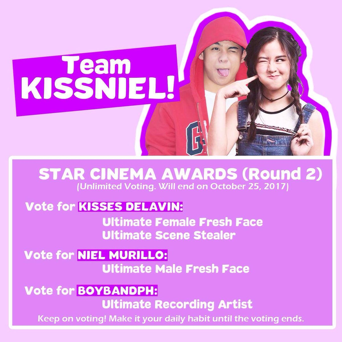 Kissniel official closed on twitter round 2 of voting in sca4 recording artist httpsstarcinemaabs cbn2017 1017newssca4 annual categories round 2 vote here 31548 picittergqfcgutk0c stopboris Gallery