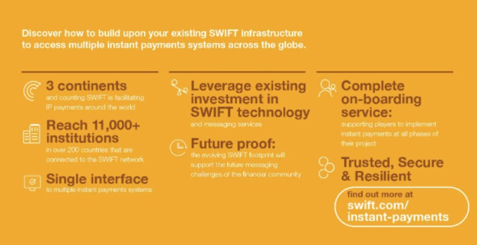 Thank you to those who joined our Instant #Payments @Sibos session. Learn about the global access SWIFT provides https://t.co/JRj98IBcvo