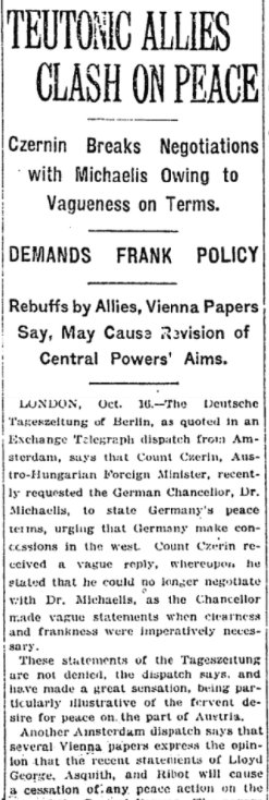 Oct 17, 1917 - New York Times: Austrians split with Germany over peace terms #100yearsago