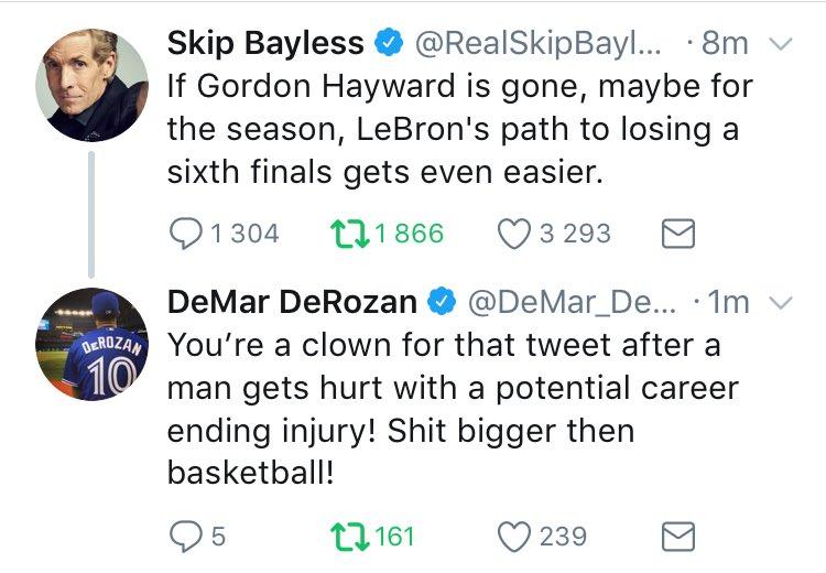 Skip Bayless qui l'ouvre sur LeBron et Derozan qui attaque ! https://t...