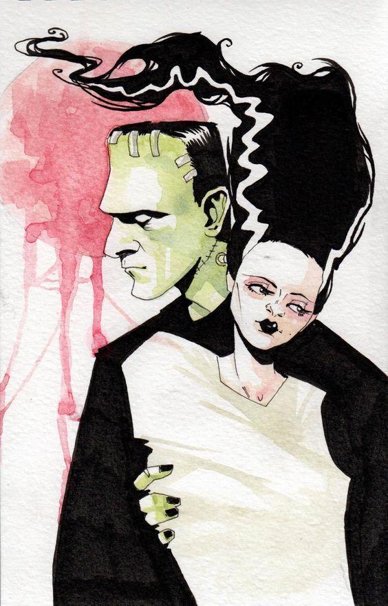 The #Bride of #Frankenstein - illustration by #MeganHutchison aka #Black_eM<br>http://pic.twitter.com/1NYEDfWWpN