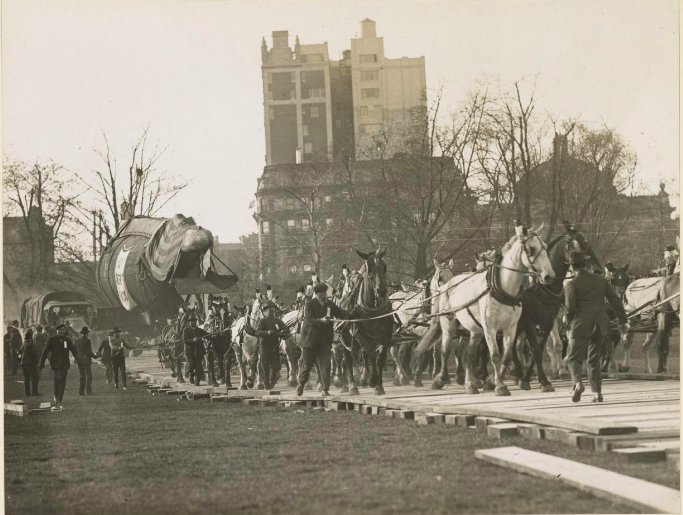 October 1917 - Captured German submarine UC-5 being hauled to New York's Central Park to promote sale of Liberty Bonds #100yearsago