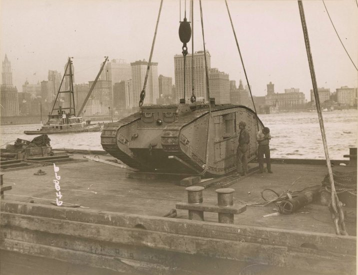 October 1917 - British tank arrives in New York City to assist in campaign to promote sale of Liberty Bonds #100yearsago