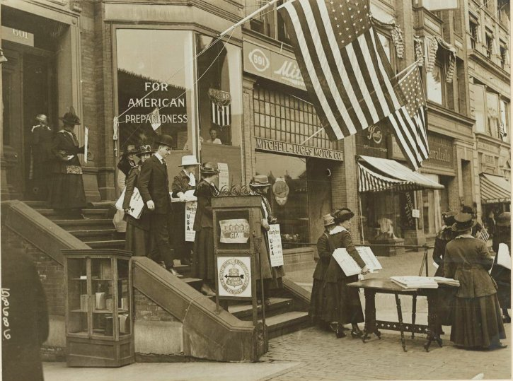October 1917 - Women in Boston placing shop window ads for Liberty Bonds #100yearsago