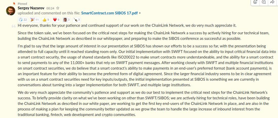 #link #chainlink $LINK real working product. Partnerships with Swift, Active smart contract with AXA and Sony.<br>http://pic.twitter.com/EcQ0jYLBiz