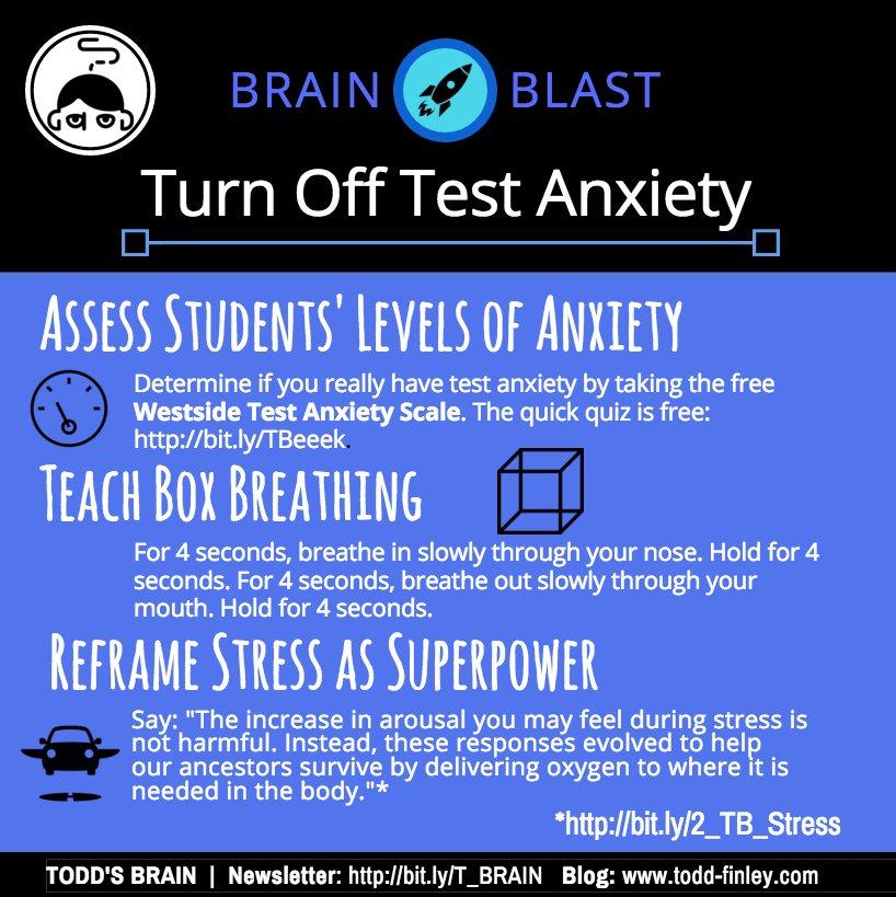 Strategies to Prevent Test Anxiety - Brain Blast  #teachers #ukedchat #passiondriven #edchat #sschat #engchat #classroom #testing <br>http://pic.twitter.com/IQTGjbQxX9