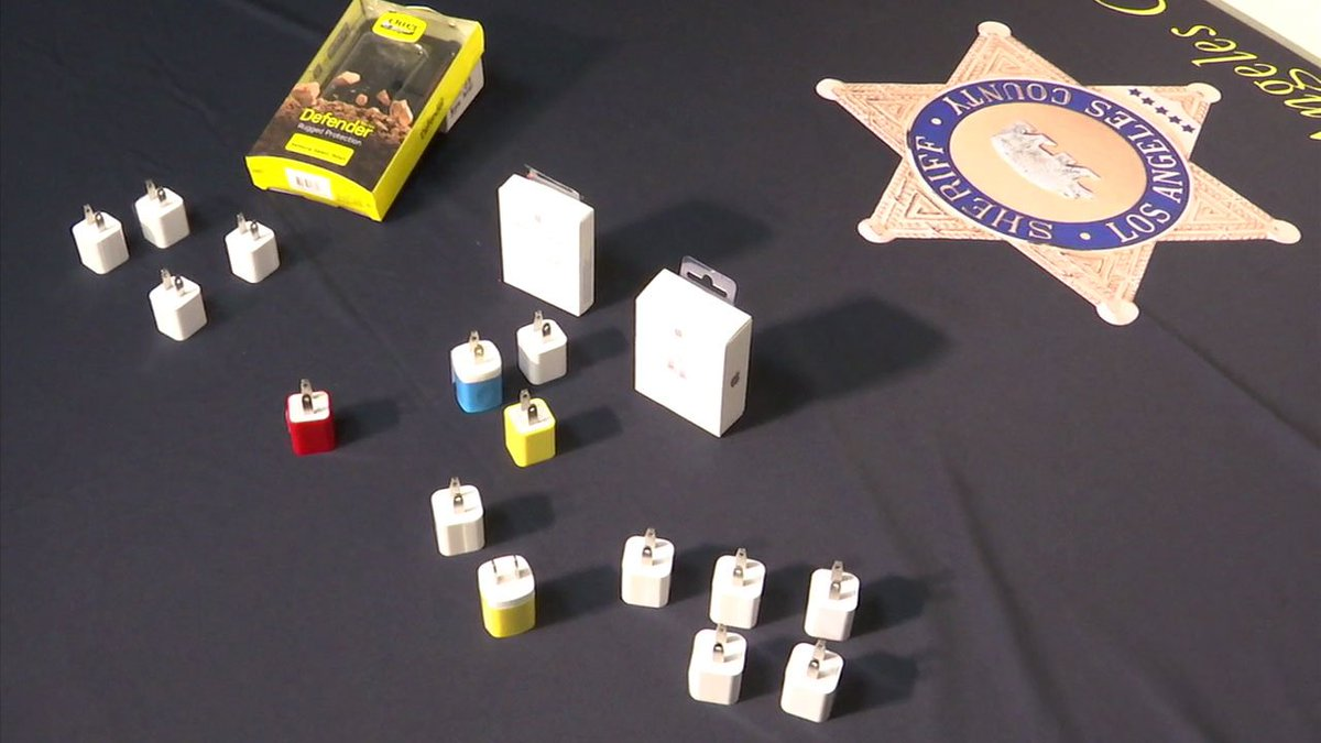 Los Angeles city officials cracking down on counterfeit cellphone char...
