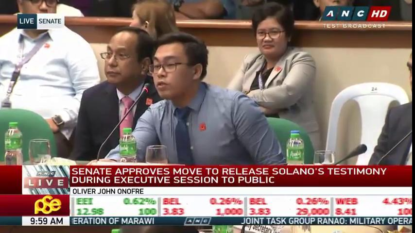 Oliver John 'OJ' Onofre invokes right against self-incrimination when asked about certain portions of Solano's testimony.