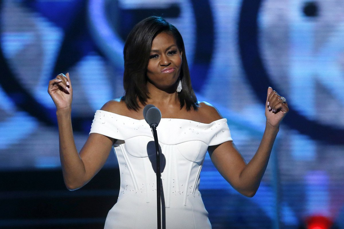 'Strong men don't need to put down women to feel powerful' Michelle Obama.
