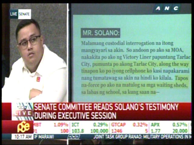 Solano went into hiding Sept. 18 in Tarlac, Pangasinan, slept in streets, threw away phone.   LIVEhttps://t.co/OO7FNFHyRW: