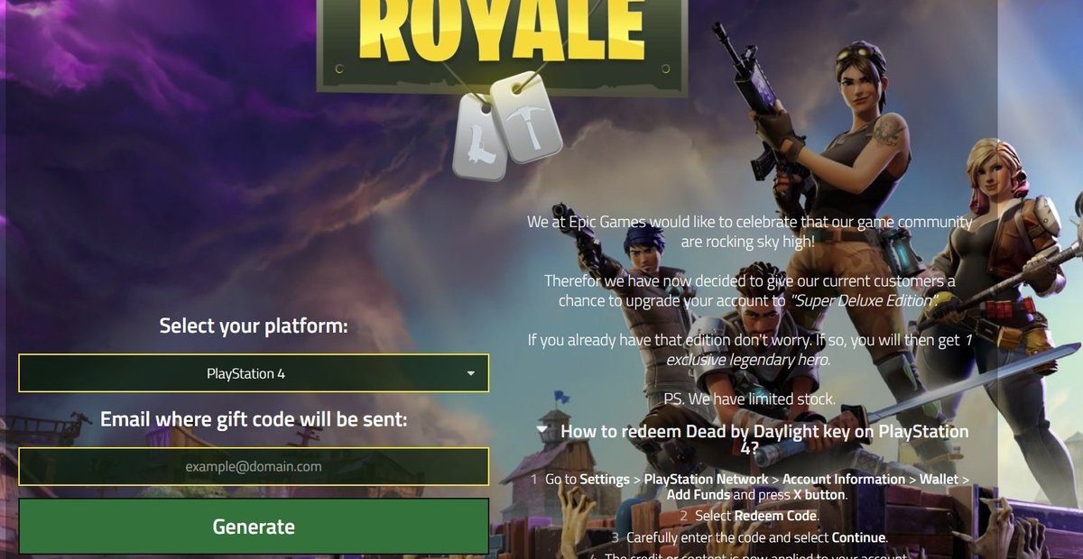 Fortnite On Twitter Free Fortnite Br Code Now Works On Ps4 And
