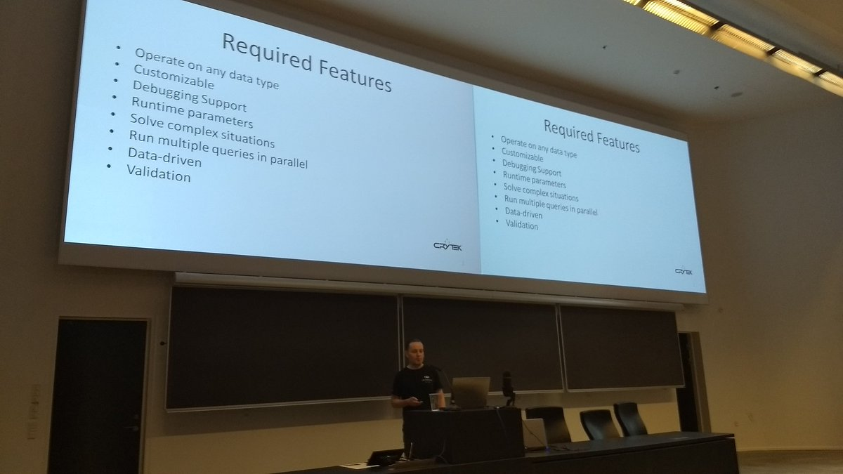 Day2 of @GameAINorth starts w. Christian Werle(Crytek) &amp; &quot;Building a scalable query system for evaluating complex game environments&quot; #gain17 <br>http://pic.twitter.com/AGRVdB0sv1