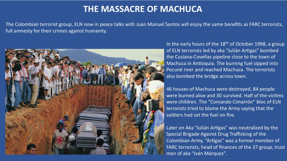 19 years ago the people of Machuca #Colombia were burned alive by ELN terrorists. ELN will also have full amnesty from Santos&#39; government. <br>http://pic.twitter.com/IccAIRvjyS