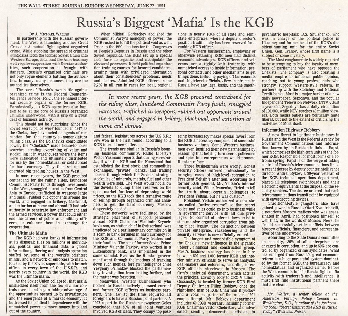 Corrupt dealings with #Russia started 20+ years ago in Clinton Admin. Few wanted to heed warnings. Even Republicans.  http:// jmichaelwaller.com/wp-content/upl oads/2002/08/WSJ-Russia-Mafia-KGB-1994.06.22.pdf &nbsp; … <br>http://pic.twitter.com/XTVpU6pwUJ