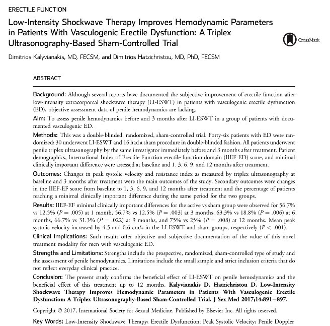 #shockwave therapy for #erectiledysfunction improves hemodynamics (at 12 months) in sham-controlled trial:  http://www. jsm.jsexmed.org/article/S1743- 6095(17)31261-4/pdf &nbsp; …   #ED <br>http://pic.twitter.com/qCY3c8H40g