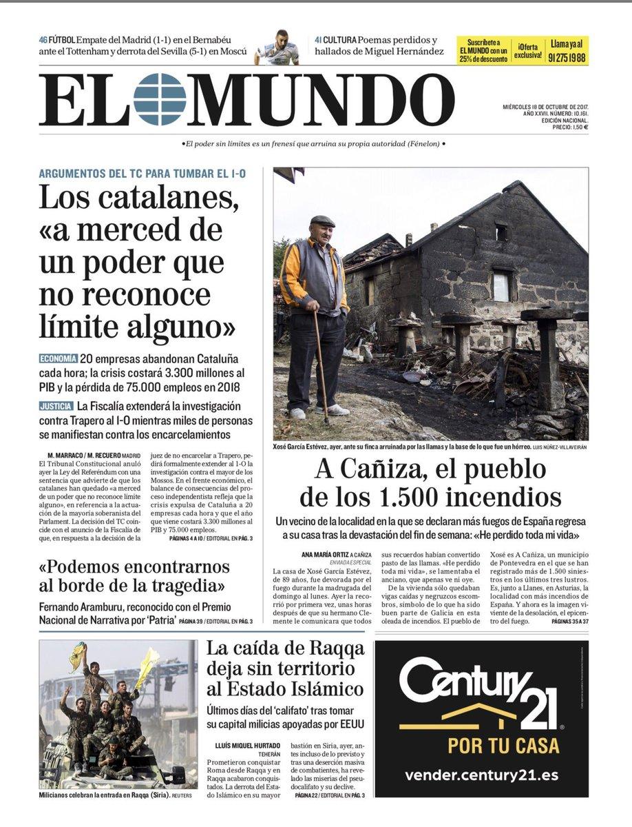 ☕️🗞 Buenos días. Esta es la portada de EL MUNDO de este 18 de octubre...