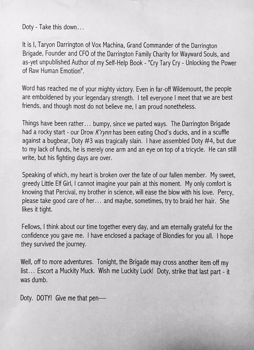 Best Friend Letters That Make You Cry.Sam Riegel On Twitter Tary S Letter To Vm Left Unread On