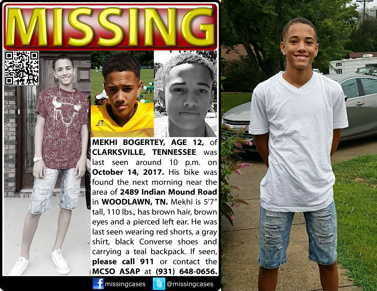 RT #MekhiBogertey age 12 #missing #Clarksville #Tennessee 10/14/2017 His bike was found near 2489 Indian Mound Road in #Woodlawn #TN #Find42<br>http://pic.twitter.com/aVH3xS5NjI