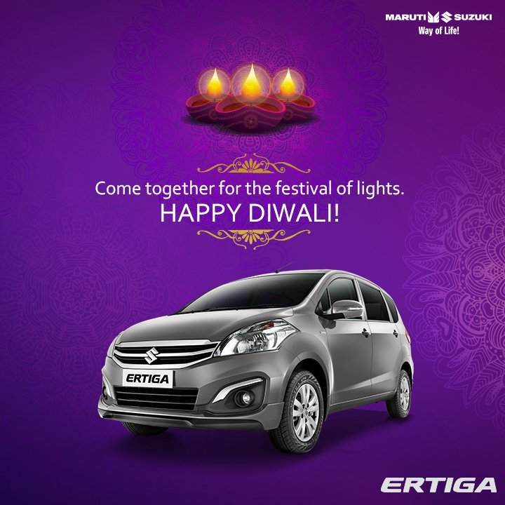 This festive season, spread the cheer by celebrating together! Maruti Suzuki Ertiga wishes you all a very prosperous and #HappyDiwali ! https://t.co/FrL0a5bQ7p