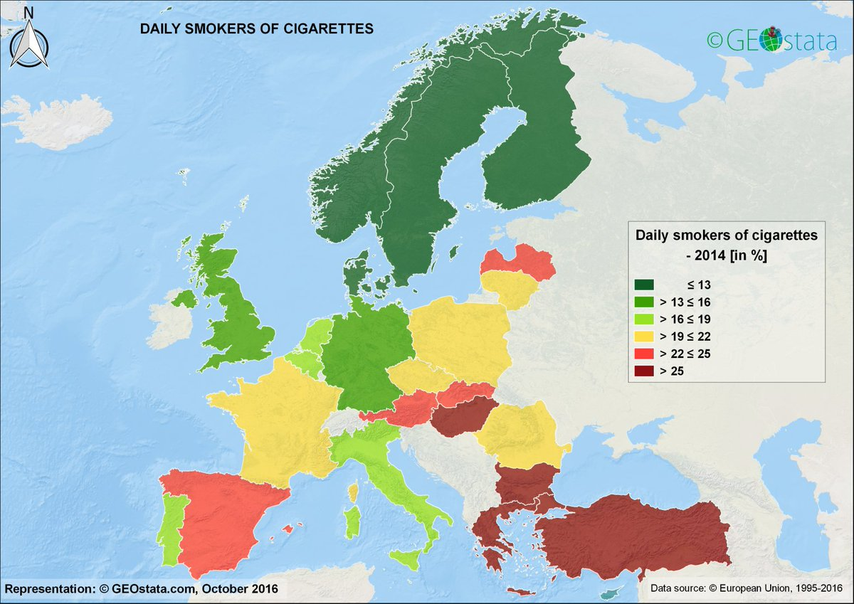 #Map shows share of population that smoke #cigarettes daily. Source:  https:// buff.ly/2yooSdK  &nbsp;  <br>http://pic.twitter.com/2KkYfhqMU9