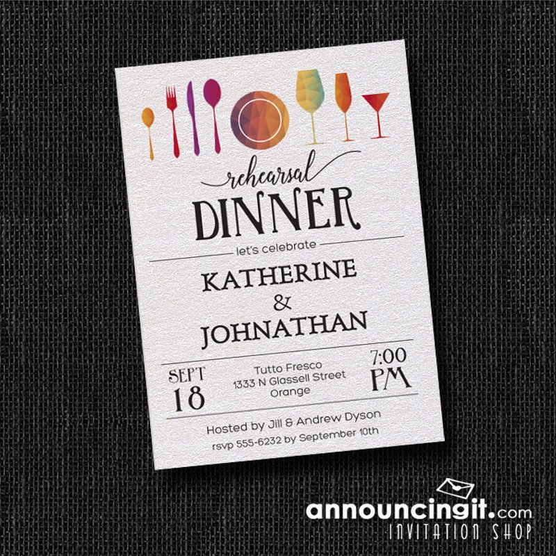 Tableware and glasses shimmery white #wedding rehearsal dinner #invitations  http:// bit.ly/2q7u8Q9  &nbsp;   #rehearsaldinner #dinnerparty <br>http://pic.twitter.com/E22kgxSmtI