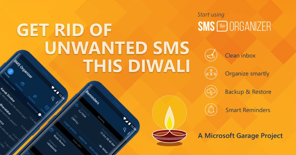 Done cleaning your home this #Diwali? Why not clean up your SMS inbox too? Download @sms_organizer today https://t.co/M9bdFqoGwV
