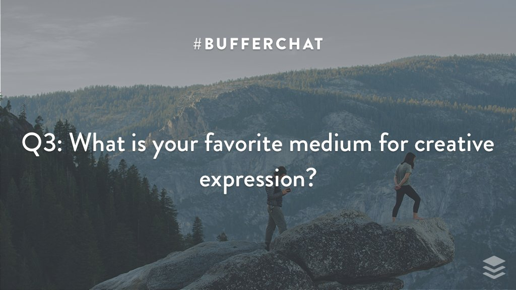 Q3: What is your favorite medium for creative expression? #bufferchat <br>http://pic.twitter.com/0p7zfyE1ox