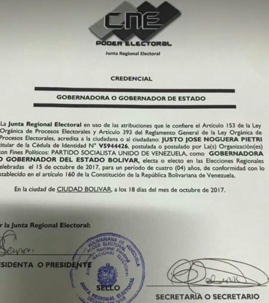 ¡Madrugonazo en #Bolívar! Justo Noguera fue adjudicado por el CNE como...
