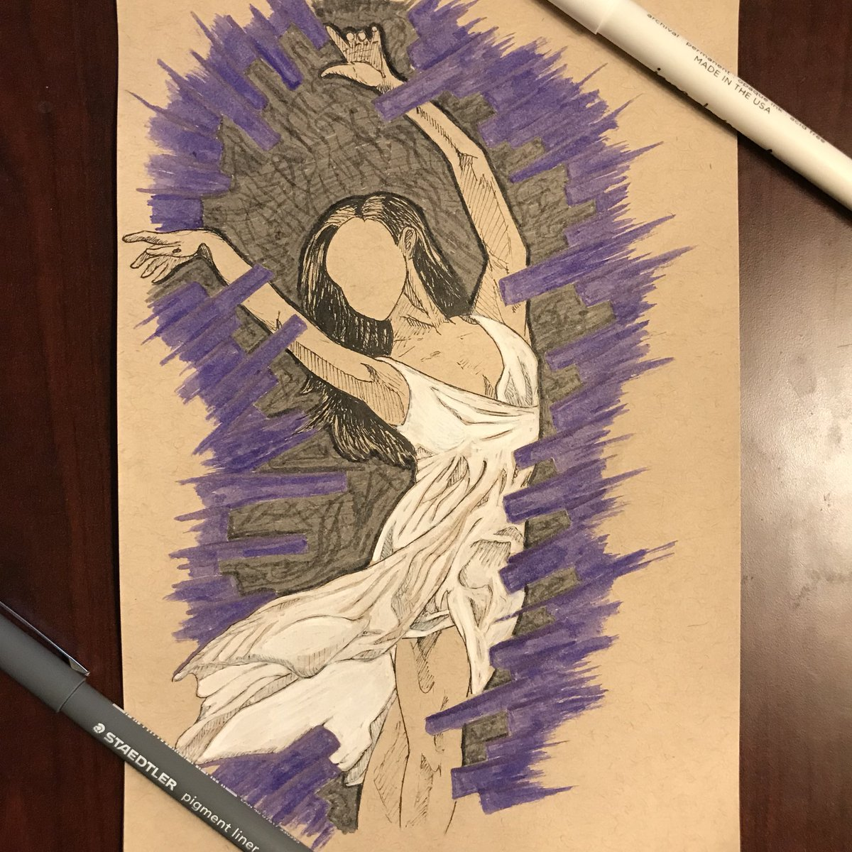 #inktober Day 17: #graceful An experimental day, in terms of supplies, but here's a faceless dancer  #art #ink #sketch #pose #dancer<br>http://pic.twitter.com/fVO7OFwZjN